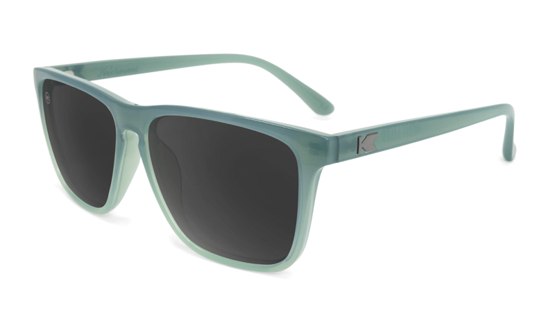 Sunglasses with Blue-Grey Frames and Polarized Smoke Lenses, Flyover