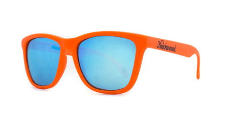 Sunglasses with Orange Frames and Aqua Blue Lenses, Front