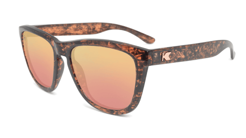 Sunglasses with Pink Ink Frames and Polarized Rose Gold Lenses, Flyover