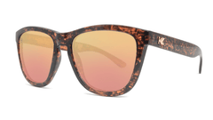Sunglasses with Pink Ink Frames and Polarized Rose Gold Lenses, Threequarter
