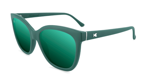 Sunglasses with Dark Green Frames and Polarized Dark Green Lenses, Flyover