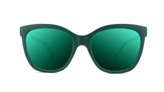 Sunglasses with Dark Green Frames and Polarized Dark Green Lenses, Front