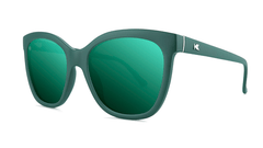 Sunglasses with Dark Green Frames and Polarized Dark Green Lenses, Threequarter