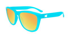 Sunglasses with Pool Blue Frames and Polarized Sunset Lenses, Flyover