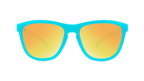 Sunglasses with Pool Blue Frames and Polarized Sunset Lenses, Back