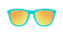 Sunglasses with Pool Blue Frames and Polarized Sunset Lenses, Front