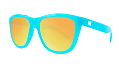 Sunglasses with Pool Blue Frames and Polarized Sunset Lenses, Threequarter