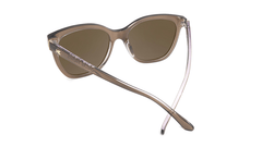 Sunglasses with glossy brown frame and polarized amber lenses, Back
