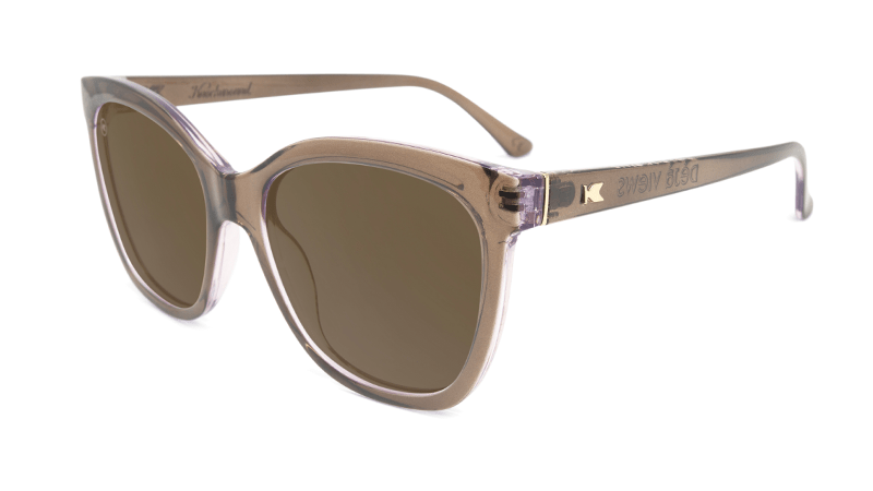 Sunglasses with glossy brown frame and polarized amber lenses, Flyover