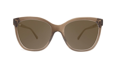 Sunglasses with glossy brown frame and polarized amber lenses, Front