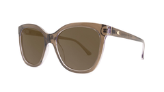 Sunglasses with glossy brown frame and polarized amber lenses, Threequarter