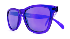 Classics Sunglasses with Purple Frames and Purple Mirrored Lenses, Folded