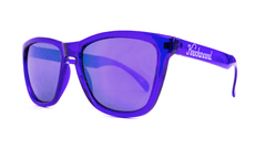 Classics Sunglasses with Purple Frames and Purple Mirrored Lenses, ThreeQuarter