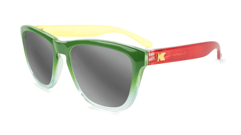 Sunglasses with Rasta Frames and Polarized Silver Smoke Lenses, Flyover