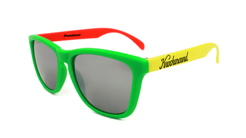 Rasta Sunglasses with Red, Yellow, Green Frames and Black Smoke Lenses, Flyover