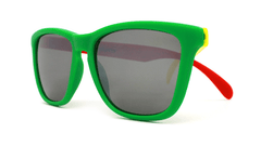 Rasta Sunglasses with Red, Yellow, Green Frames and Black Smoke Lenses, Front