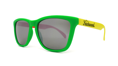 Rasta Sunglasses with Red, Yellow, Green Frames and Black Smoke Lenses, Back