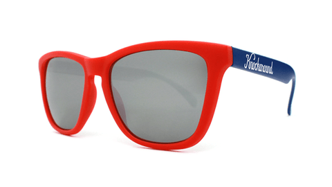Sunglasses with Red, White, and Blue Frames and Black Smoke Lenses, Back