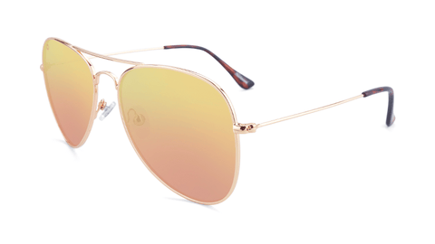 Sunglasses with Rose Gold Metal Frame and Polarized Copper Lenses, Flyover