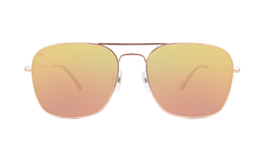 Sunglasses with Rose Gold Metal Frame and Polarized Copper Lenses, Front