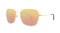 Sunglasses with Rose Gold Metal Frame and Polarized Copper Lenses, Threequarter