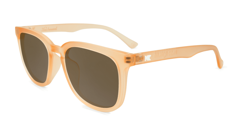 Sunglasses with Rose Quartz Frames and Polarized Amber Lenses, Flyover