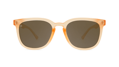 Sunglasses with Rose Quartz Frames and Polarized Amber Lenses, Front