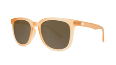 Sunglasses with Rose Quartz Frames and Polarized Amber Lenses, Threequarter