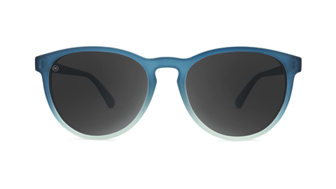 Sunglasses with Frosted Rubber Blue Ice Frames and Polarized Smoke Lenses, Back