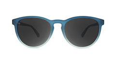 Sunglasses with Frosted Rubber Blue Ice Frames and Polarized Smoke Lenses, Front