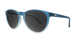 Sunglasses with Frosted Rubber Blue Ice Frames and Polarized Smoke Lenses, Threequarter