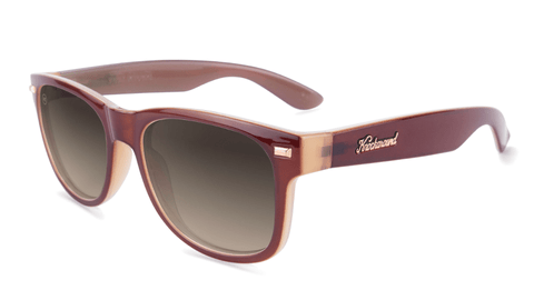 Sunglasses with Maroon Frame and Polarized Amber Gradient Lenses, Flyover