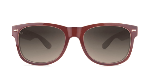 Sunglasses with Maroon Frame and Polarized Amber Gradient Lenses, Back