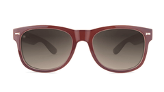 Sunglasses with Maroon Frame and Polarized Amber Gradient Lenses, Front