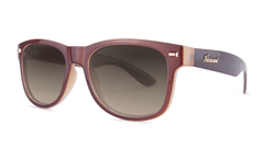 Sunglasses with Maroon Frame and Polarized Amber Gradient Lenses, Threequarter