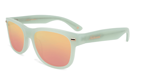 Sunglasses with Glossy Sea Glass Green Frames and Polarized Rose Gold Lenses, Flyover