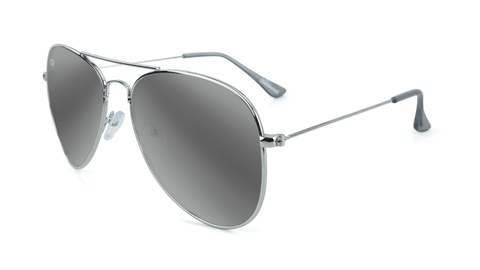 Sunglasses with Silver Frames and Polarized Silver Smoke Lenses, Flyover
