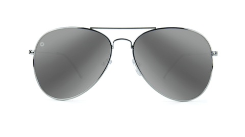 Sunglasses with Silver Frames and Polarized Silver Smoke Lenses, Back