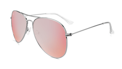 Sunglasses with Silver Frame and Polarized Rose Lenses, Flyover