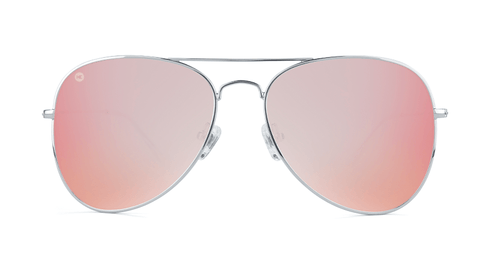 Sunglasses with Silver Metal Frame and Polarized Rose Lenses, Back
