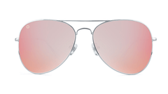 Sunglasses with Silver Metal Frame and Polarized Rose Lenses, Front