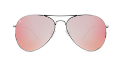 Sunglasses with Silver Frame and Polarized Rose Lenses, Back
