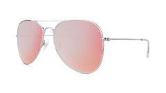 Sunglasses with Silver Metal Frame and Polarized Rose Lenses, Threequarter
