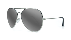 Sunglasses with Silver Metal Frame and Polarized Silver Smoke Lenses, ThreeQuarter