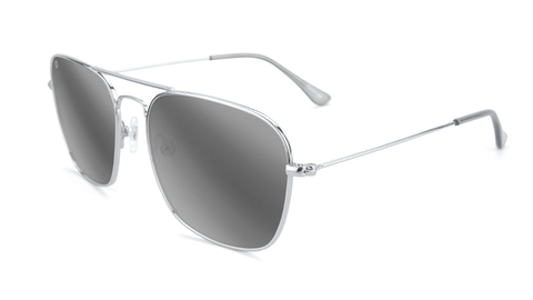 Sunglasses with Silver Metal Frame and Polarized Silver Smoke Lenses, Flyover