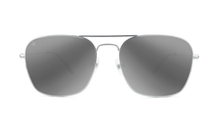 Sunglasses with Silver Metal Frame and Polarized Silver Smoke Lenses, Front
