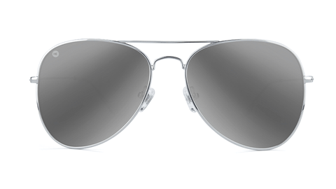 Sunglasses with Silver Metal Frame and Polarized Silver Smoke Lenses, Back