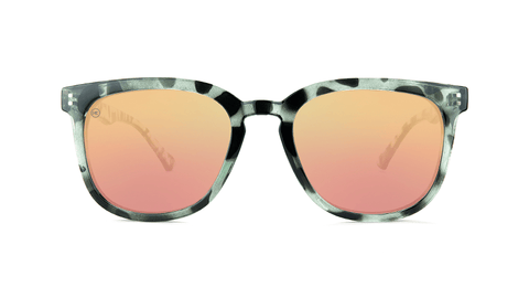 Sunglasses with Slate Tortoise Frames and Polarized Rose Gold Lenses, Back
