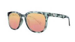 Sunglasses with Slate Tortoise Frames and Polarized Rose Gold Lenses, Threequarter