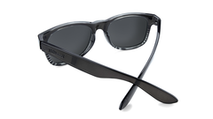 Sunglasses with Black and Clear Frame and Polarized Black Smoke Lenses, Back